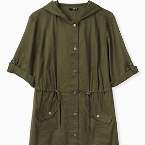 OLIVE GREEN VOILE SHORT SLEEVE HOODED ANORAK